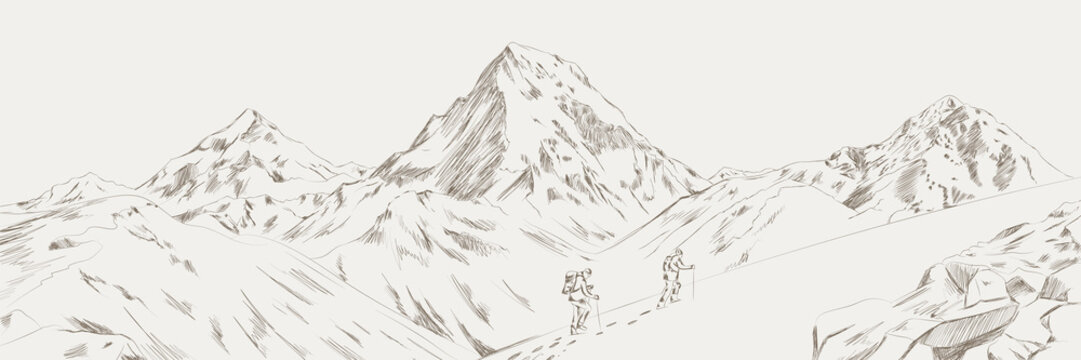 Mountain range climbers with backpacks walking through heavy snow in winter season, Climbing and mountaineering sport, hand drawn vector illustration. Mountain range vector illustration
