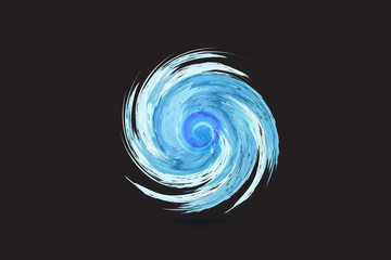 Logo blue spiral waves ocean beach swirl watercolor vector