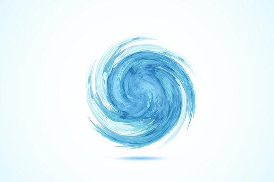 Logo blue spiral waves ocean beach swirl vector web image template