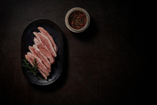 부드럽고 맛있는  돼지고기 특수 부위 항정살. A special area of tender and delicious pork.