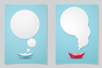 Set of Paper boat and white text box. paper cut style.