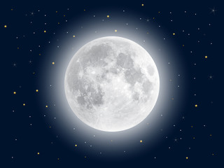Realistic full moon. Vector