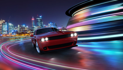 HIgh speed generic red sports car driving in the city