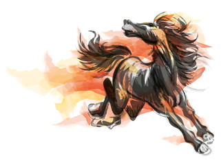 Oriental style painting of a running horse, Traditional chinese ink and wash vector illustration. Horse on flame.