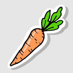 sticker of carrot cartoon doodle icon