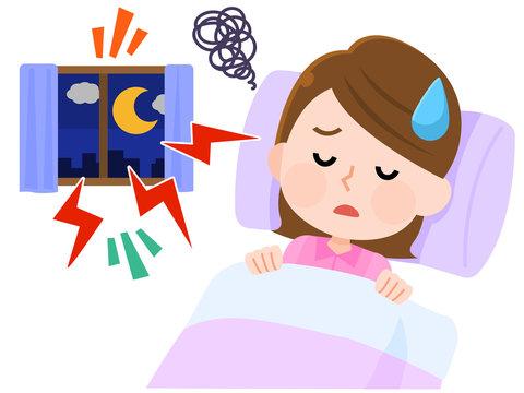 騒音 眠れなくて困る女性 イラスト