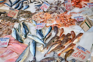 Fresh fish and seafood for sale at the Porta Nolana market in Naples, Italy