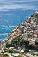 View of the beautiful town of Positano on the italian Amalfi coast