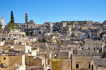 View of the historic old town of Matera in southern Italy
