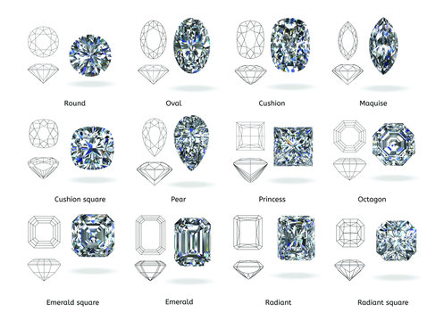 A set of twelve sparkling water diamonds with out line shape of various shapes and designs with their name, Background top view Stock Illustration-3D rendering