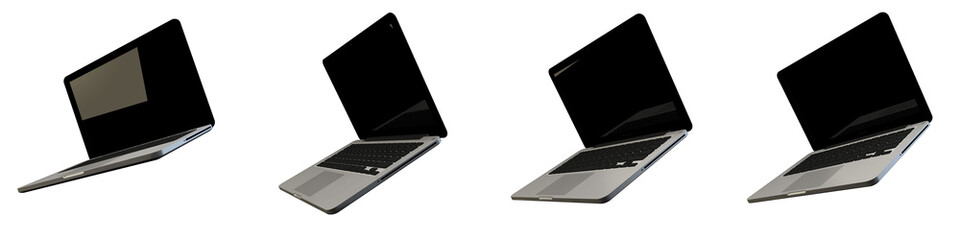 3D Render Illustration Laptop Mock Up isolated white background