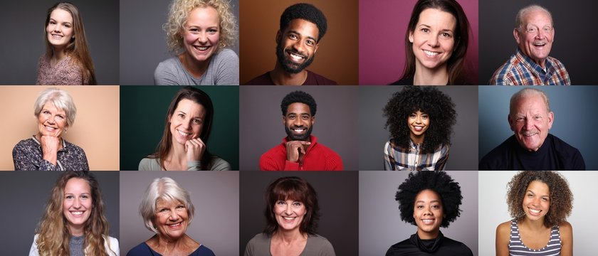 Group of 11 different people in front of a colored background