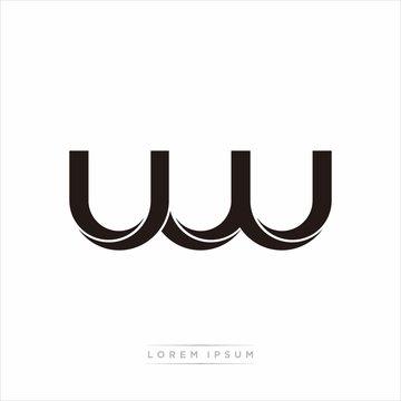 uw Initial Letter Split Lowercase Modern Monogram linked outline rounded logo