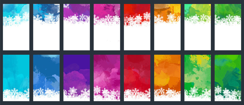 Christmas and New Year colorful watercolor background set with snowflakes
