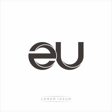 zu Initial Letter Split Lowercase Modern Monogram linked outline rounded logo