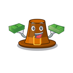 With money bag pilgrims hat in the character shape