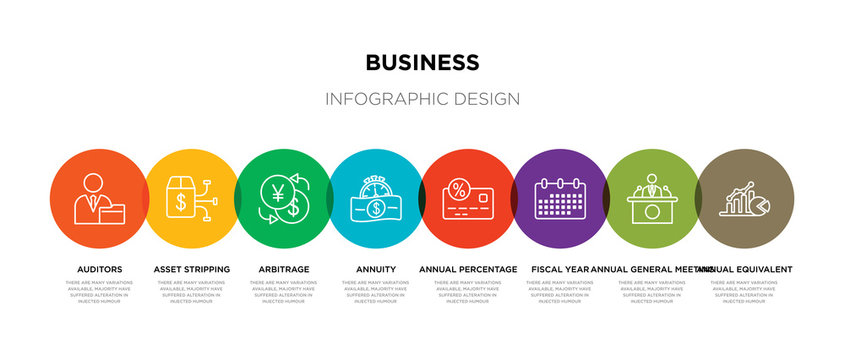 8 colorful business outline icons set such as annual equivalent rate (aer), annual general meeting (agm), fiscal year, annual percentage rate (apr), annuity, arbitrage, asset stripping, auditors