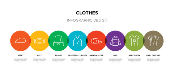 8 colorful clothes outline icons set such as baby clothes, baby grow, bag, baseball cap, basketball jersey, beanie, belt, beret