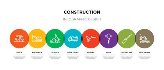 8 colorful construction outline icons set such as demolition, digging bar, drill, driller, dump truck, dumper, excavator, floor