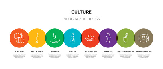 8 colorful culture outline icons set such as native american drum, native amertican arrows and quiver, nefertiti, onion patties, orujo, pico cao, pipe of peace, pork ribs