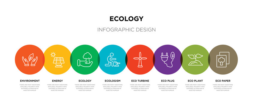 8 colorful ecology outline icons set such as eco paper, eco plant, eco plug, turbine, ecologism, ecology, energy, environment