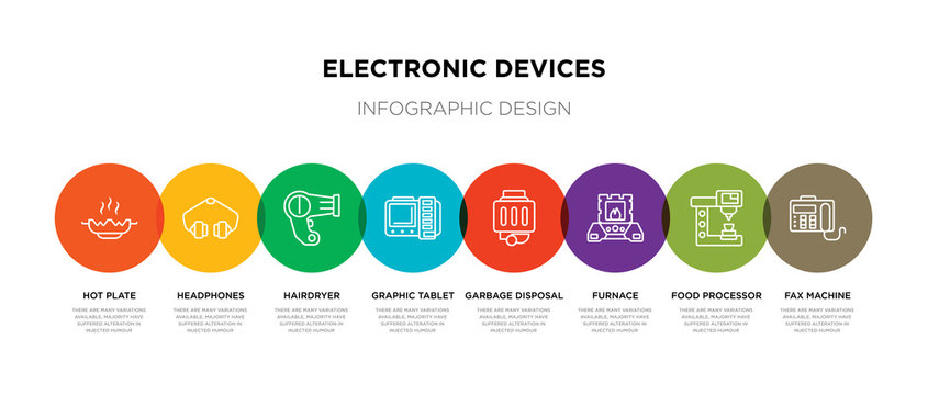 8 colorful electronic devices outline icons set such as fax machine, food processor, furnace, garbage disposal, graphic tablet, hairdryer, headphones, hot plate
