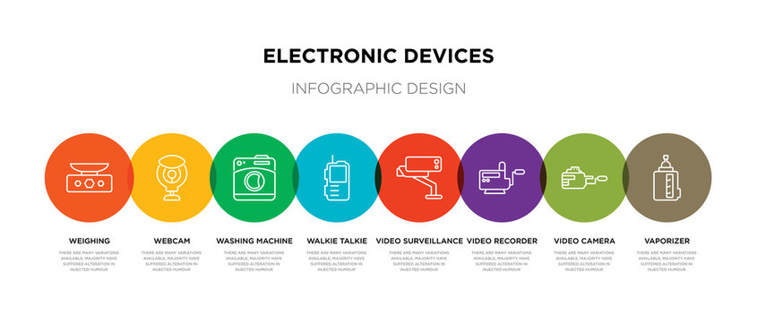 8 colorful electronic devices outline icons set such as vaporizer, video camera, video recorder, video surveillance, walkie talkie, washing machine, webcam, weighing