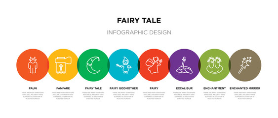 8 colorful fairy tale outline icons set such as enchanted mirror, enchantment, excalibur, fairy, fairy godmother, tale, fanfare, faun