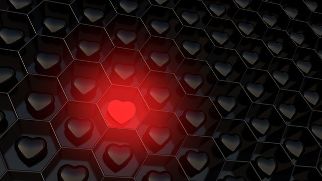 A shining red heart / hexagon wallpaper / concept love / 3d illustration