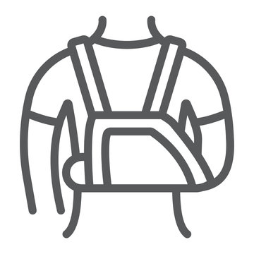 Shoulder immobilzer line icon, medical and healthcare, shoulder bandage sign, vector graphics, a linear pattern on a white background.