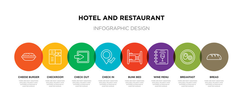 8 colorful hotel and restaurant outline icons set such as bread, breakfast, wine menu, bunk bed, check in, check out, checkroom, cheese burger
