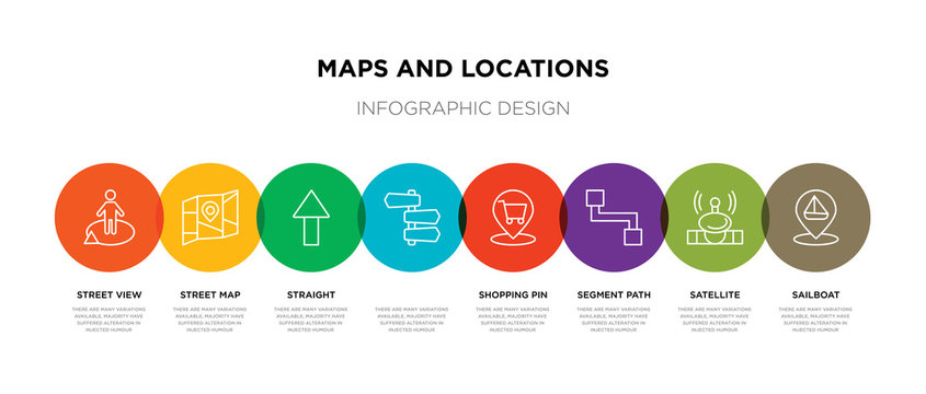 8 colorful maps and locations outline icons set such as sailboat, satellite, segment path, shopping pin,  , straight, street map, street view