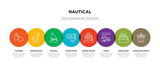 8 colorful nautical outline icons set such as cargo ship front view, cruise ship, diver, diving helmet, diving mask, felucca, fishing hook, flippers