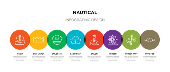 8 colorful nautical outline icons set such as rope tied, rubber raft, rudder, sailor, sailor cap, sailor hat, salt water, scow