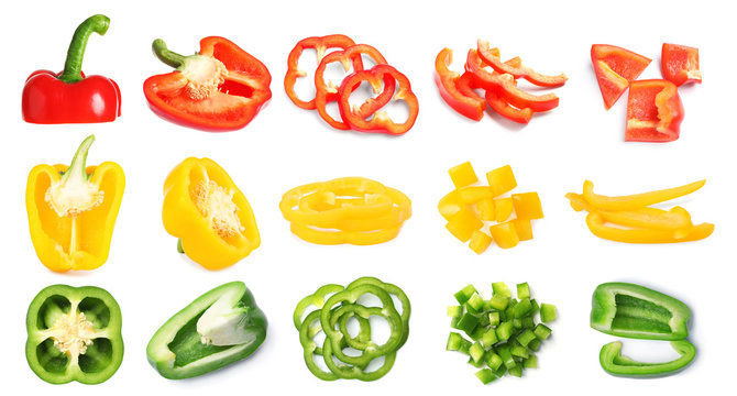 Rings of ripe bell peppers on white background
