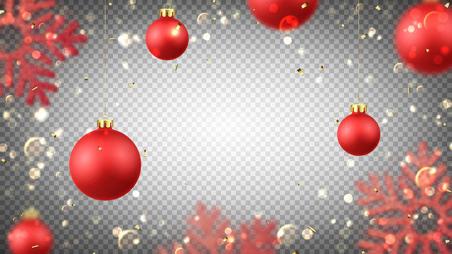 Christmas holiday background with red balls. Vector illustration with realistic balls, snowflakes, golden confetti and bokeh with blur effect on transparent background.