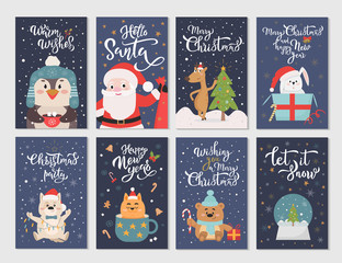 Winter season flat cartoon characters postcards set