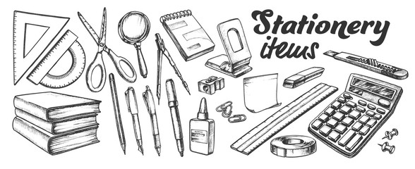 School And Office Stationery Items Ink Set Vector. Stationery Knife And Pen, Calculator And Books, Ruler And Scissors, Eraser And Paper. Engraving Mockup Drawn In Retro Style Monochrome Illustrations