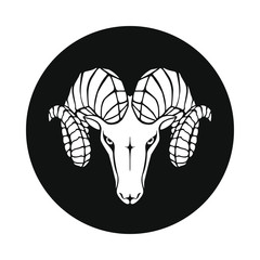 Aries graphic icon. Ram head sign in the black circle isolated on white background. Argali symbol. Vector illustration