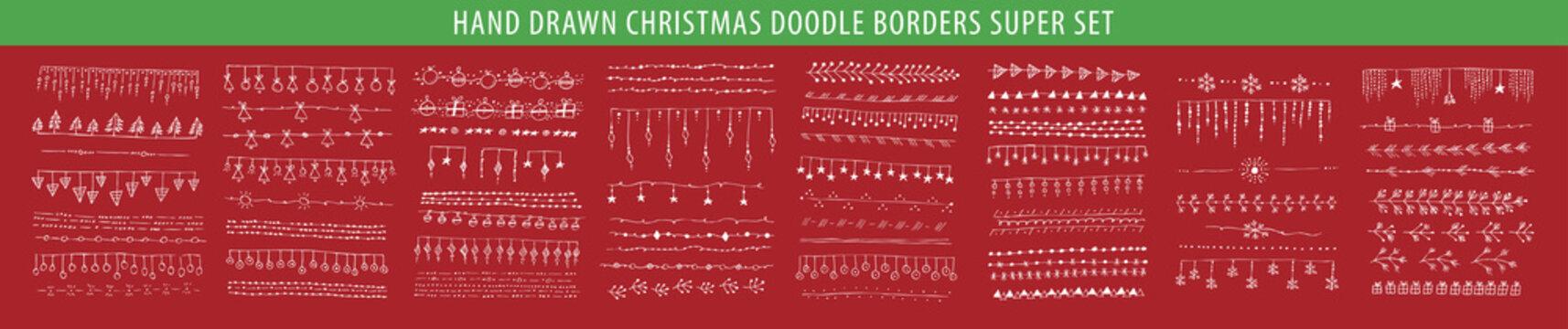Hand drawn Christmas line, border, frame vector doodle design element set. Template for invitation or greeting card.