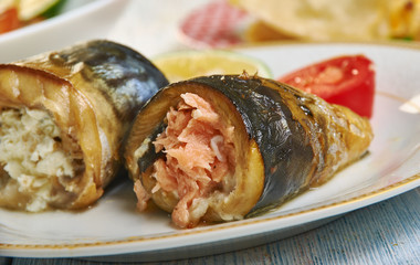 Mackerel roll with salmon and feta