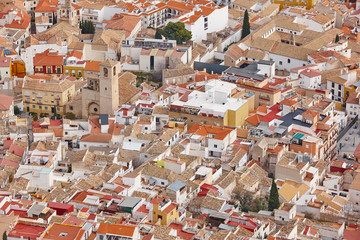 Jaen aerial view. Traditional town in Andalucia. Spanish heritage