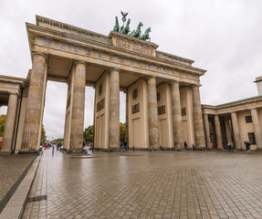 Berlin, Germany: an angular view of the Brandenburg Gate in a moment of tranquility