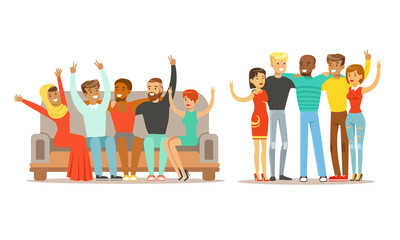 Happy People of Various Nationalities Standing Together and Showing Victory Sign GesturesVector Illustration