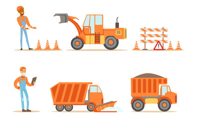 Road Construction Workers in Uniform and Industrial Machines Set Vector Illustration