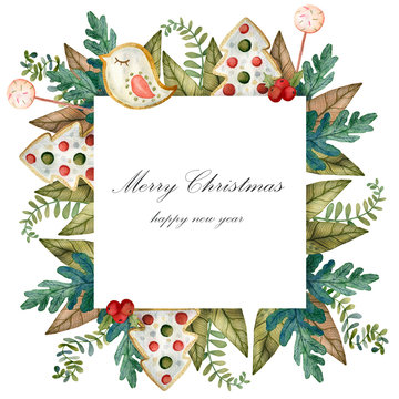 Watercolor frame on a christmas theme. Perfect for invitations, greeting cards, prints, packaging and more. Merry christmas and happy new year.