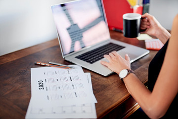 Girl arranging business planning for year 2020