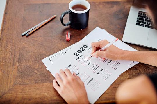 Businesswoman scheduling calendar for year 2020