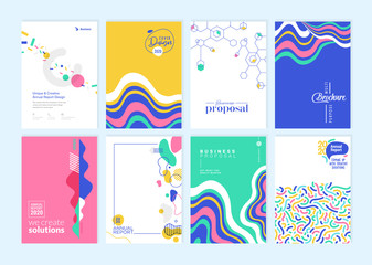 Set of brochure, annual report, cover design templates. Vector illustrations for business presentation, business paper, corporate document, flyer and marketing material.