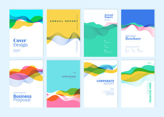 Wall Mural - Set of brochure, annual report, cover design templates. Vector illustrations for business presentation, business paper, corporate document, flyer and marketing material.